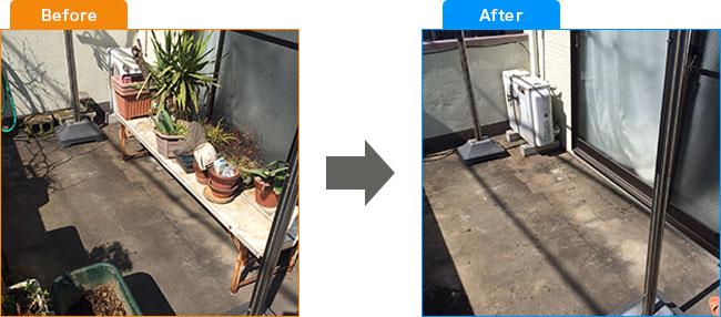 ベランダ植木処分・観葉植物処分・土・プランター処分 Before,After 1