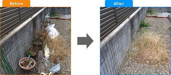庭植木処分・観葉植物処分・土・プランター処分 Before,After 4