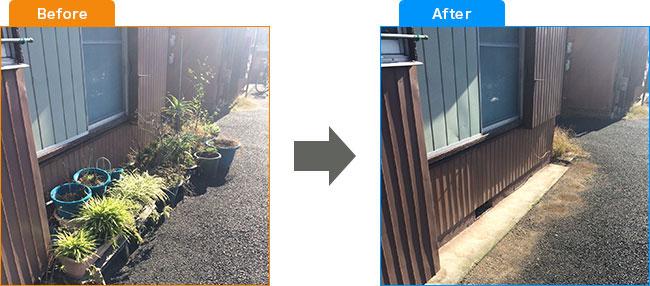 庭植木処分・観葉植物処分・土・プランター処分 Before,After 3